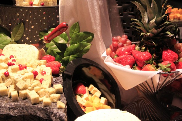 Beautiful display of fruit and cheese