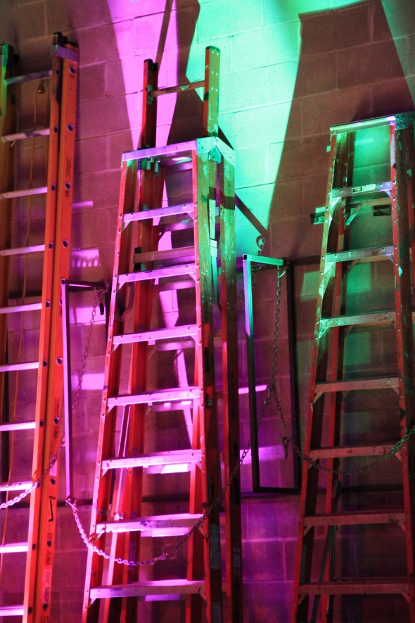 Ladders back of stage