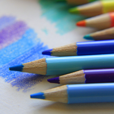 Colored pencils in blues