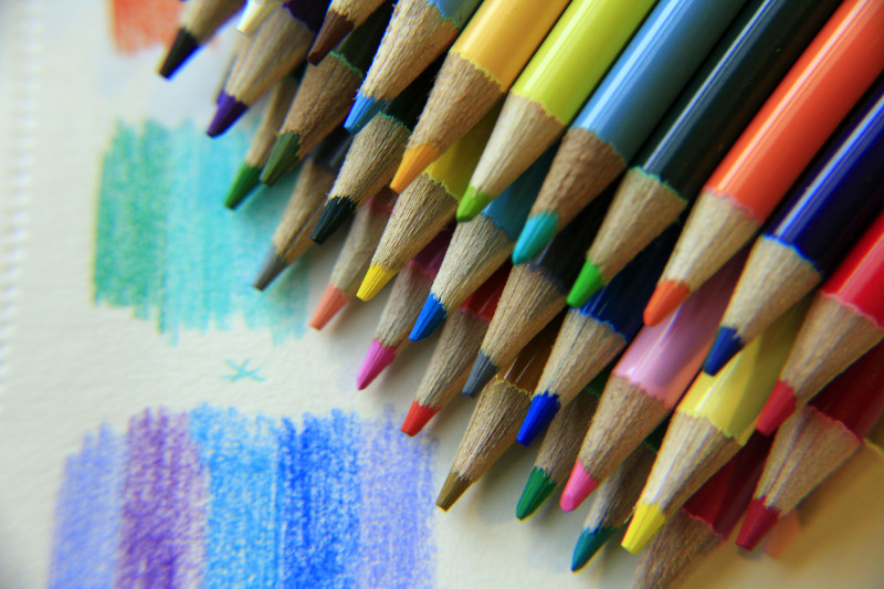 Magnified detail of colored pencils