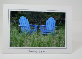 Two blue chairs in dune grass