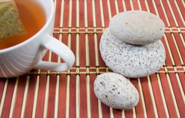 Cup of tea with rocks