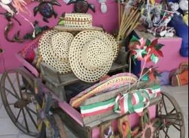 Colorful items for sale in Mexican gift shop